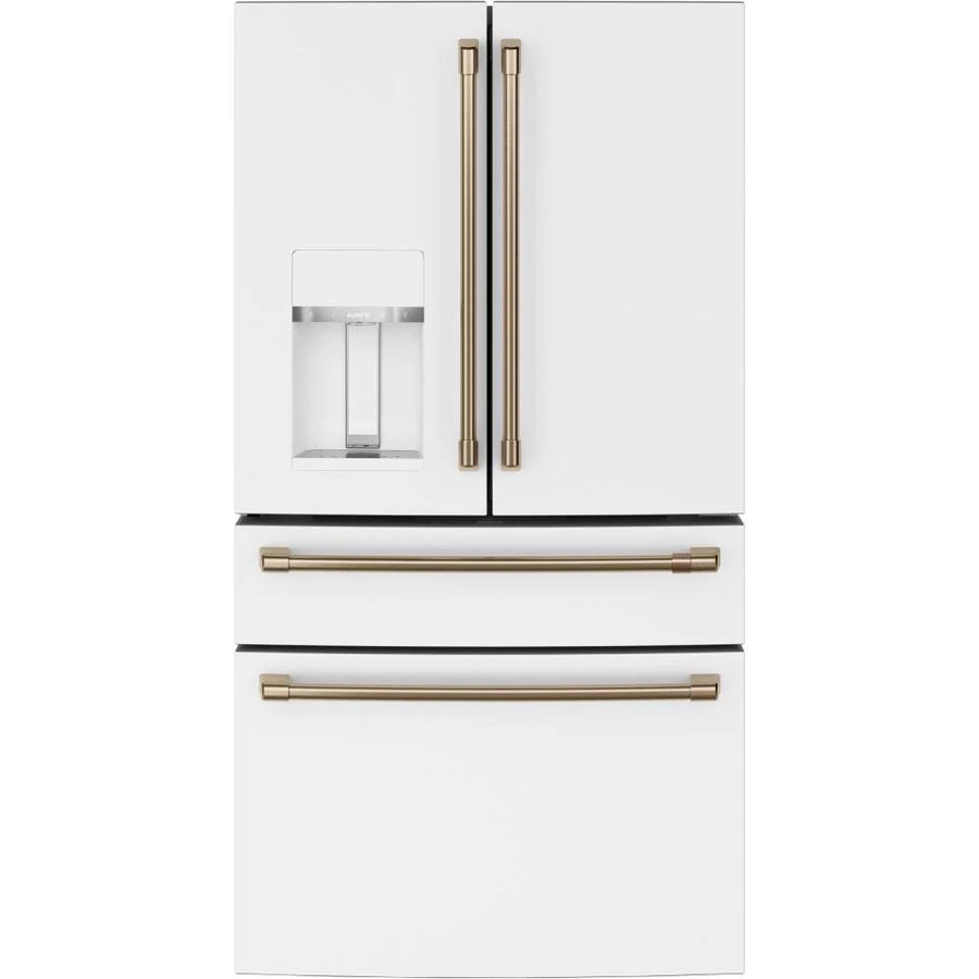 Cafe Smart 27 8 Cu Ft 4 Door French Door Refrigerator With Ice Maker Fingerprint Resistant Matte White Energy Star Lowes Com In 2020 French Door Refrigerator French Doors Dispenser Design