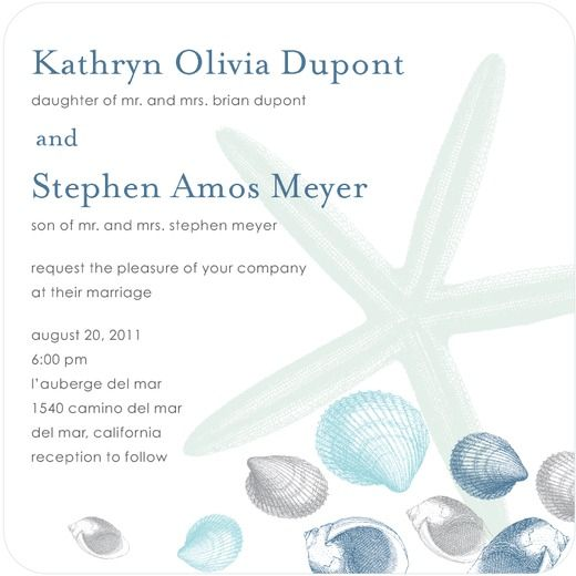 Seaside Wonder - Signature White Textured Wedding Invitations - Chewing the Cud - Surf - Blue : Front