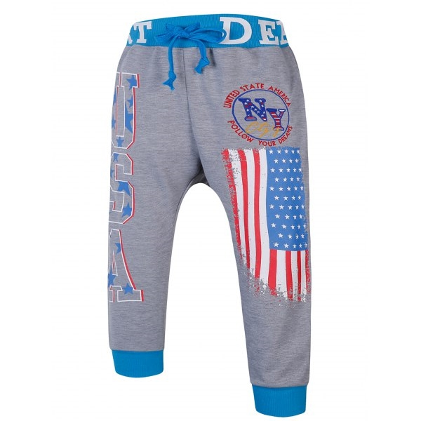 Lace Up Color Block Spliced Flag And Letters Print Beam Feet Jogger Shorts For Men