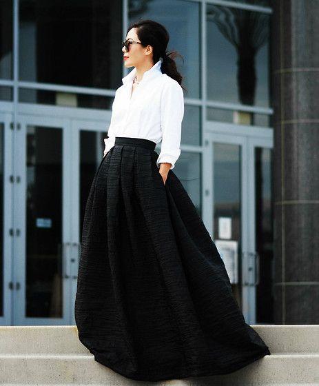 Maxi Skirt, White Button Down Shirt
