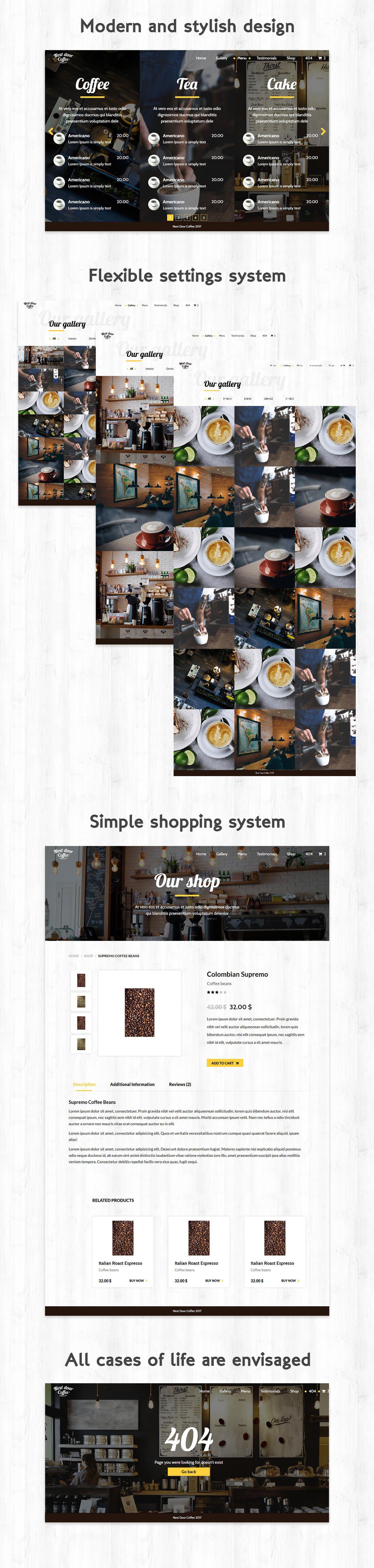 Next Door Coffee - HTML template for coffee shop, bar, restaurant ...