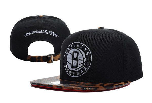 f1552f46890 NBA Brooklyn Nets Snapback Hats Mitchell And Ness Black Leopard Grain  Snakeskin 3174! Only  8.90USD