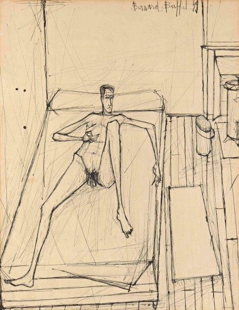 bernard buffet 1928 1999 homme nu tendu sur un lit 1949 encre de chine 63 x 48 cm vue. Black Bedroom Furniture Sets. Home Design Ideas