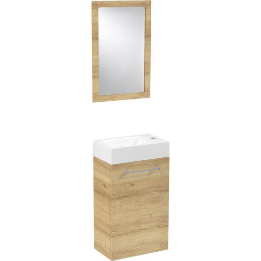 Meuble lave-mains avec miroir SENSEA Remix, chêne clair Toilettes