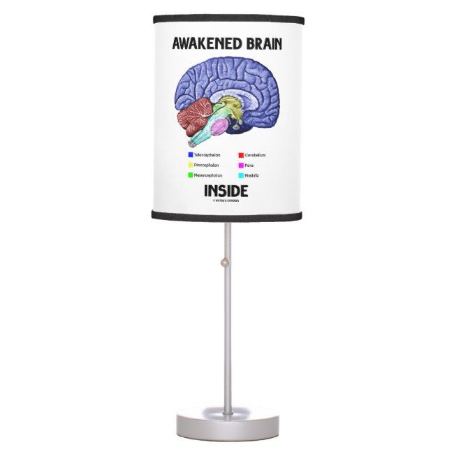 Awakened Brain Inside Brain Anatomy Geek Humor Table Lamp #brain #psychology #words #and #unwords #TableLamp