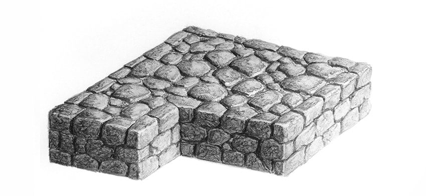 how to draw bricks on paper