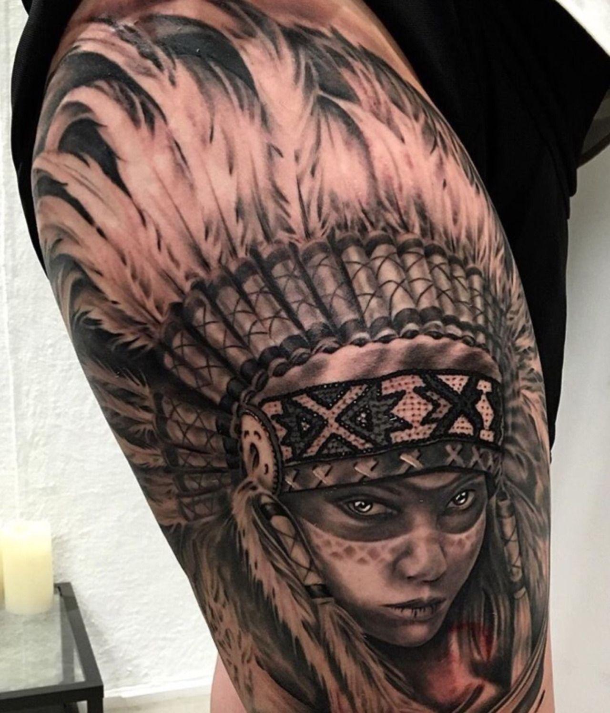 Beautiful Native American Girl With Headdress Tattoo border=