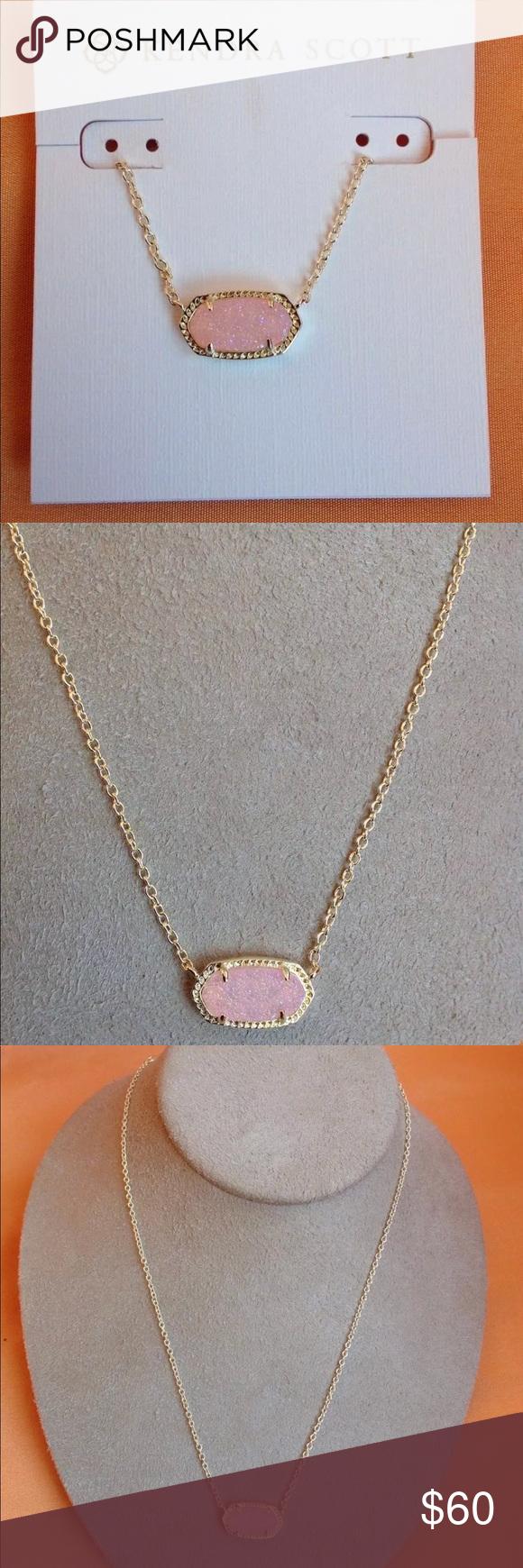 Kendra Scott Elisa Light Pink Druzy Gold Pendant Boutique Pink Druzy Gold Pendant Gold Pendant Necklace