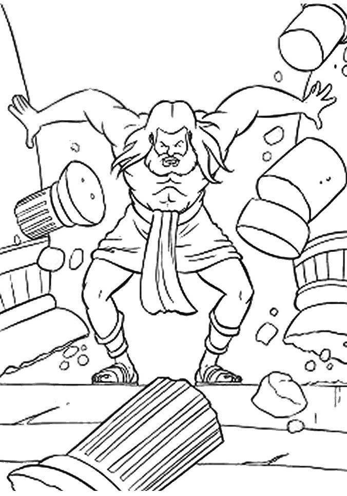 Samson demolishes the two main columns of the Temple of Dagon ...