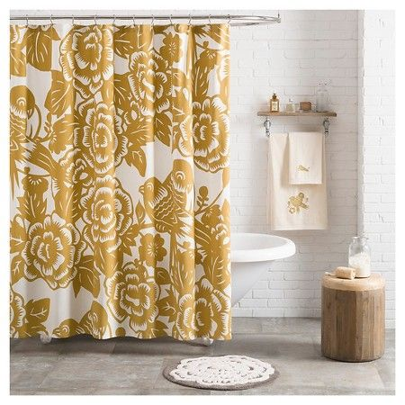 Seedling By Thomas Paul Aviary Shower Curtain Mustard 72 X72