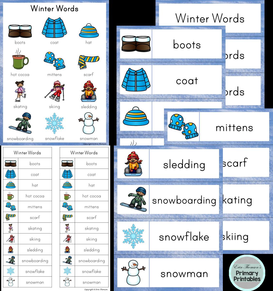 Writing Center Word List Winter Words