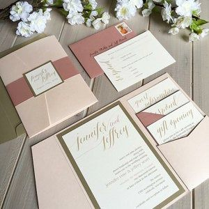 Blush, Gold and Ivory Wedding Invitations, Pink, Gold and Dusty Rose Wedding Invitations, Modern Wedding Invitations, Pocket Invitations