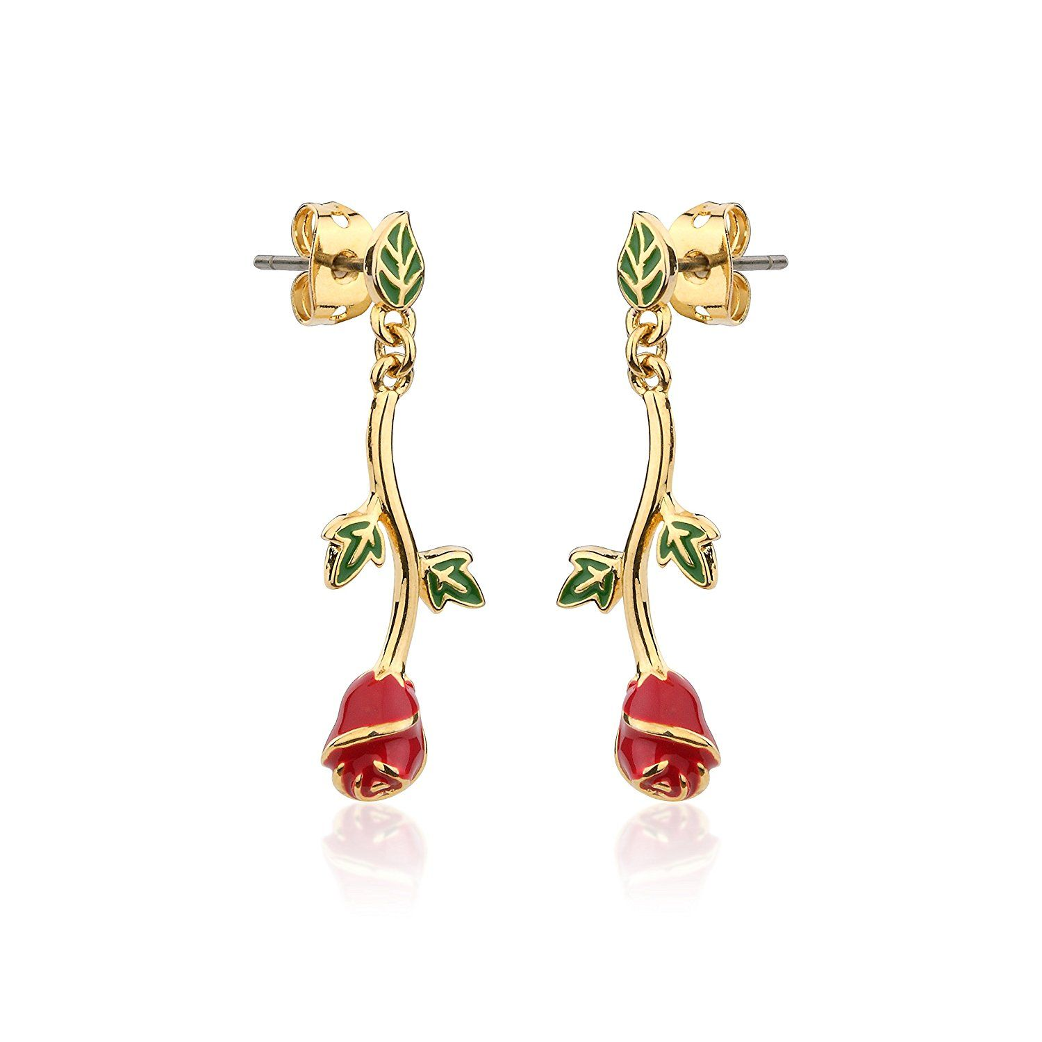 Disney Beauty & the Beast Gold-Plated Enchanted Red Rose Stud Earrings guCYjkB7b