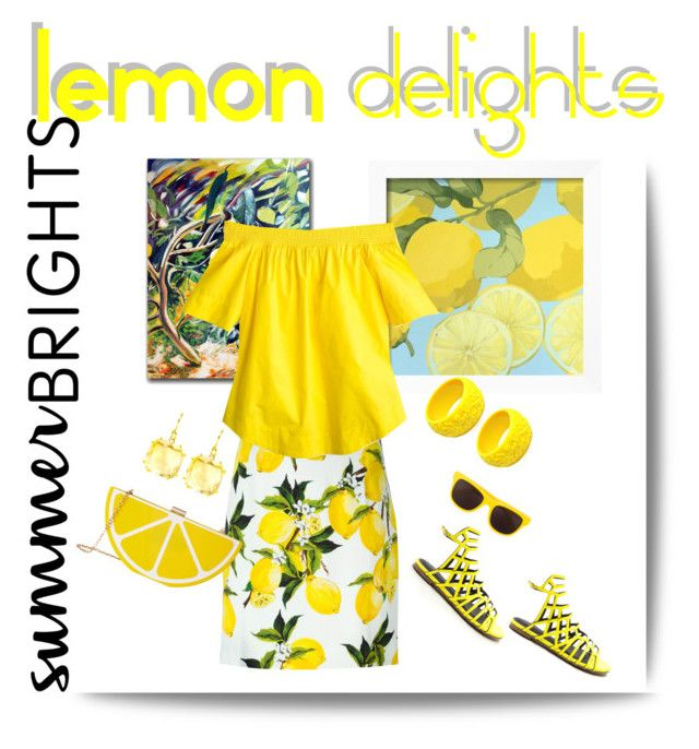 """""""#summerbrights lemon delights!"""" by ice-cream-is-nice-cream ❤ liked on Polyvore featuring Trademark Fine Art, Dolce&Gabbana, J.Crew, Mariah Rovery, Moschino, Jessica McClintock, Suzanne Kalan and summerbrights"""