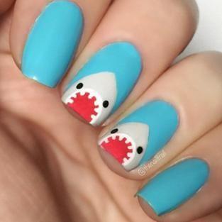 shark week nails  great manicure ideas  pinterest
