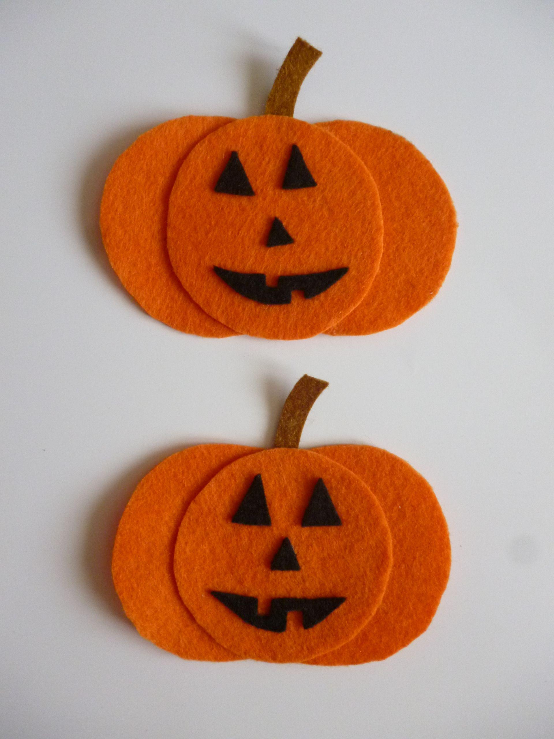 Calabazas de fieltro para Halloween. Cosas de halloween