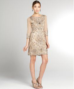 Sue Wong taupe embellished sequin dress