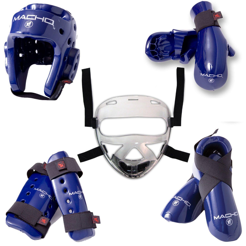 New Karate Taekwondo Sparring Gear Set Helmet w// Shield Hand Foot Mouth Blue