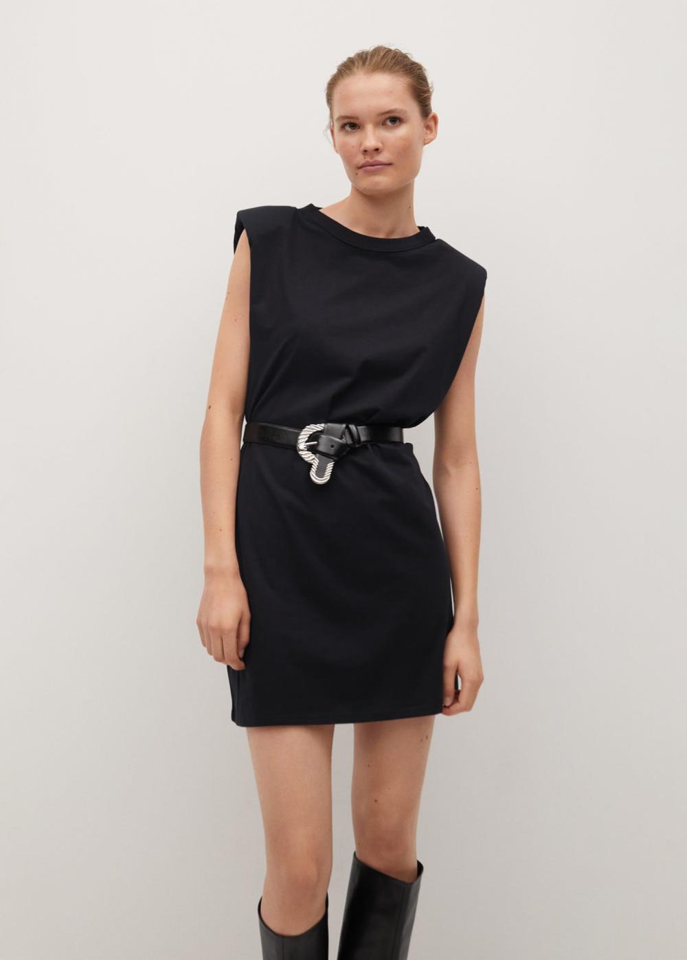 Shoulder Pad Dress Women Mango Usa In 2021 Shoulder Pad Dress Jumpsuits For Women Black Dress [ 1398 x 1000 Pixel ]