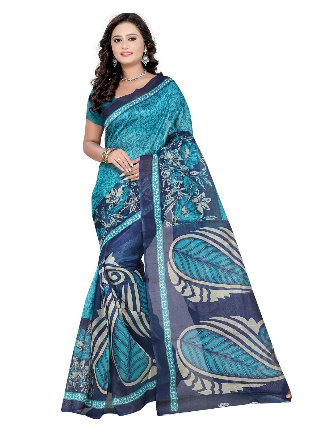 ca4d1a3bfc Blue Bhagalpuri Silk Printed Saree | Wholesale Price Saree | Saree ...