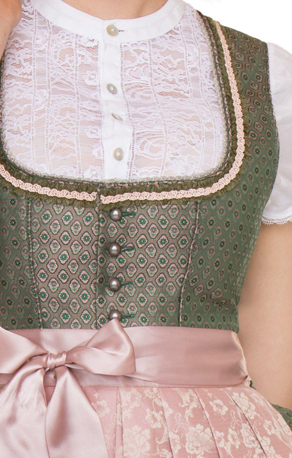 mididirndl jessica 70cm 2tlg. smaragd rosé | dirndl bluse
