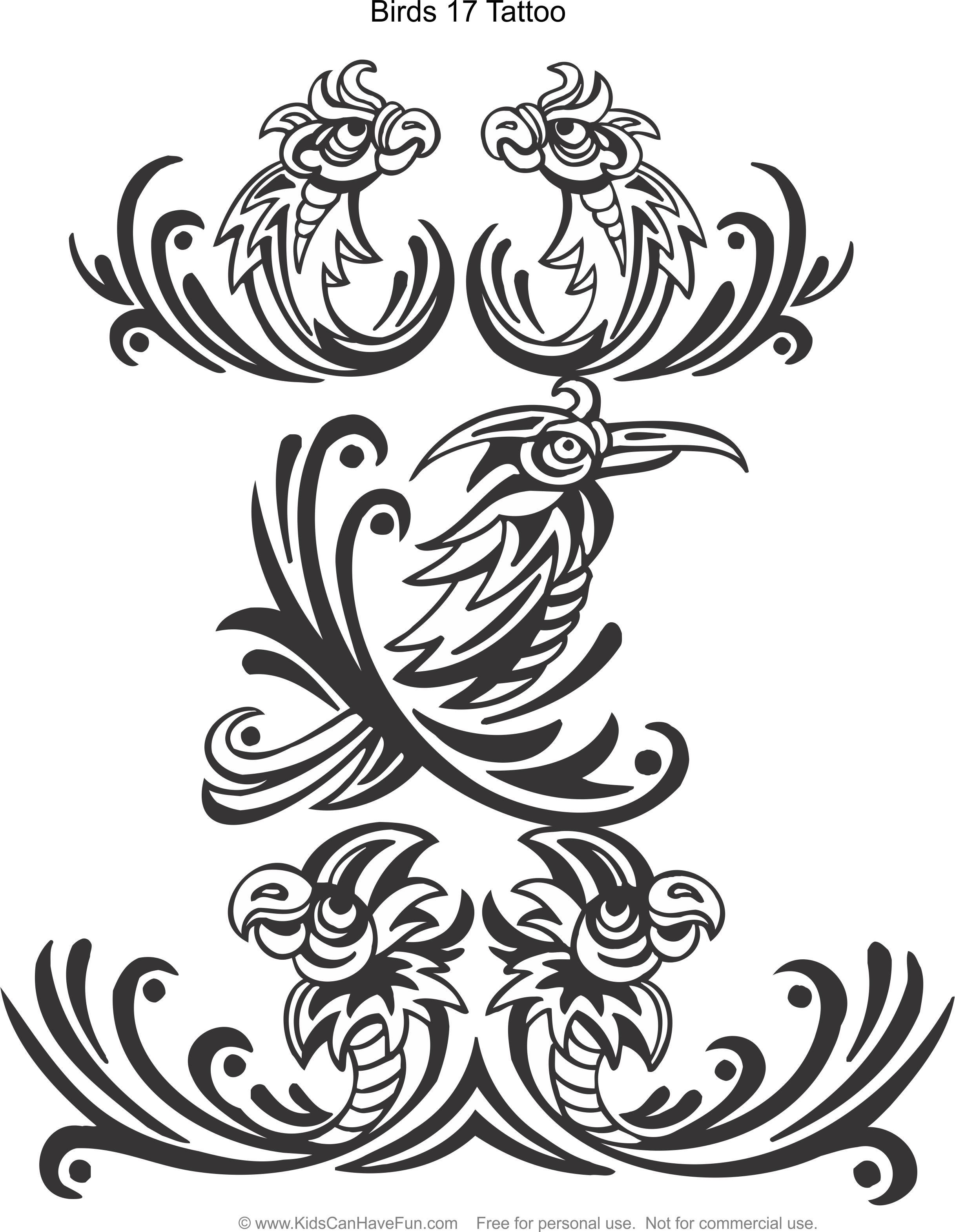 Birds 17 Tattoo Design Coloring Page Kidscanhavefun Coloringhtm Bird Color