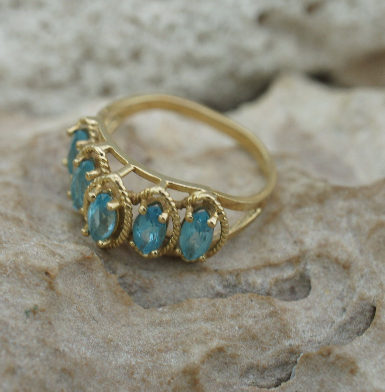 Vintage Solid Gold 10k Solid Gold Afjc Ring Yellow Light Blue Etsy Blue Stones Jewelry Solid Gold Blue Stone