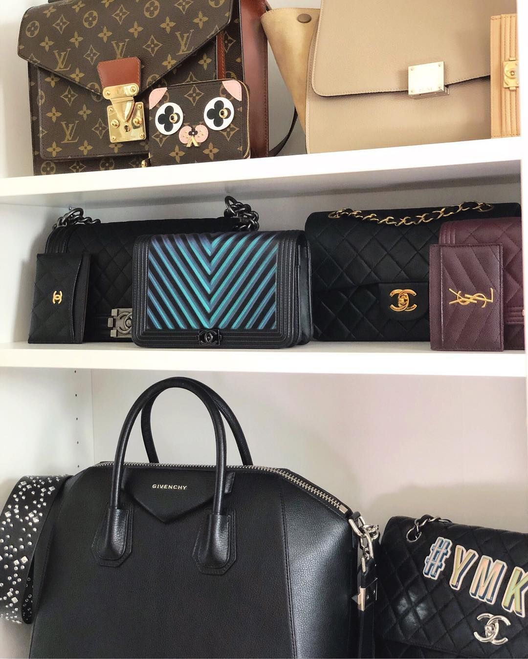 a03abfb71692 Some of my designer handbag collection: vintage Louis Vuitton monogram  Monceau, Celine Trapeze Dune, Chanel chevron iridescent WOC, Givenchy  Antigona, ...