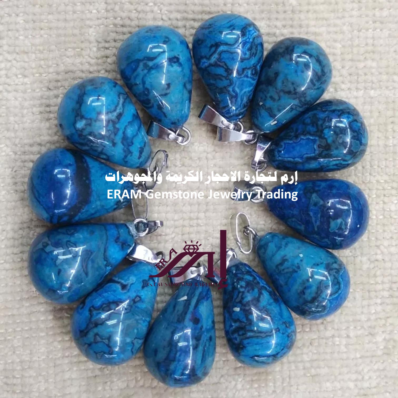 قلادة نسائي عقيق يمني جزع ازرق نادرة Agate طبيعي 100 للعرض Drop Pendant Blue Agate Onyx Charm