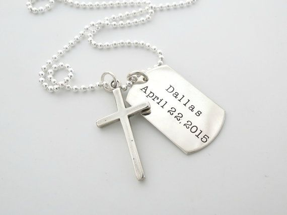 Mens Cross Necklace Personalized Necklace Godfather Guys