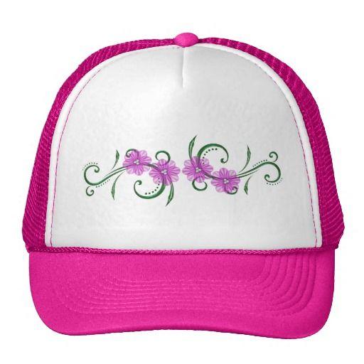 """Pink """"Floral Swirls"""" Mesh Hat"""