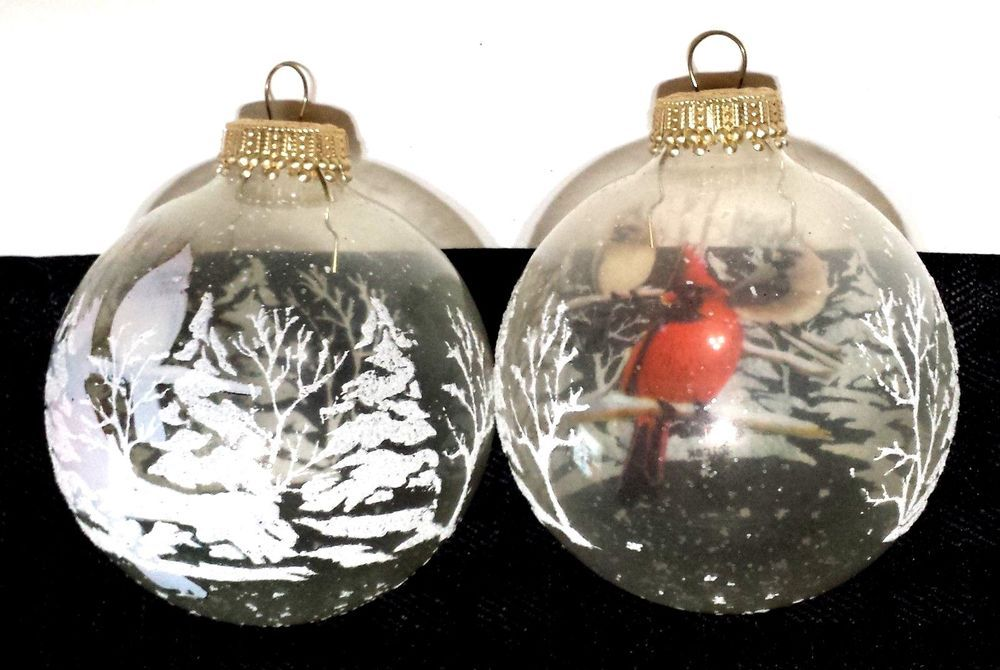 4 Clear Glass Ball Christmas Ornaments Cardinal Winter Scene