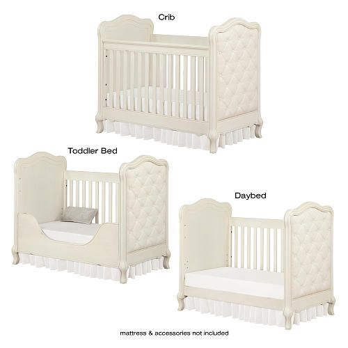 Bertini Tinsley 3 In 1 Upholstered Crib Antique White Upholstered Crib Baby Room Curtains Cribs