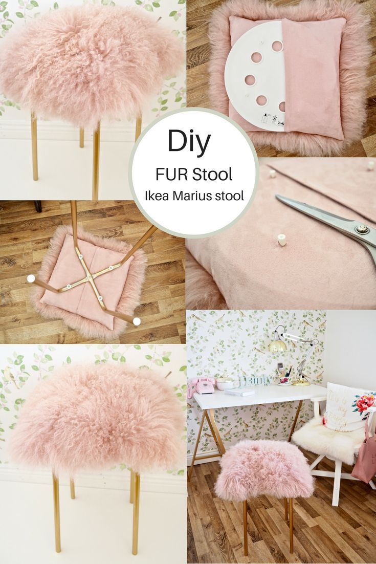 sehen sie wie ich einen 3 50 ikea marius hocker in einen funky pink goldfarbenen fur stoo. Black Bedroom Furniture Sets. Home Design Ideas