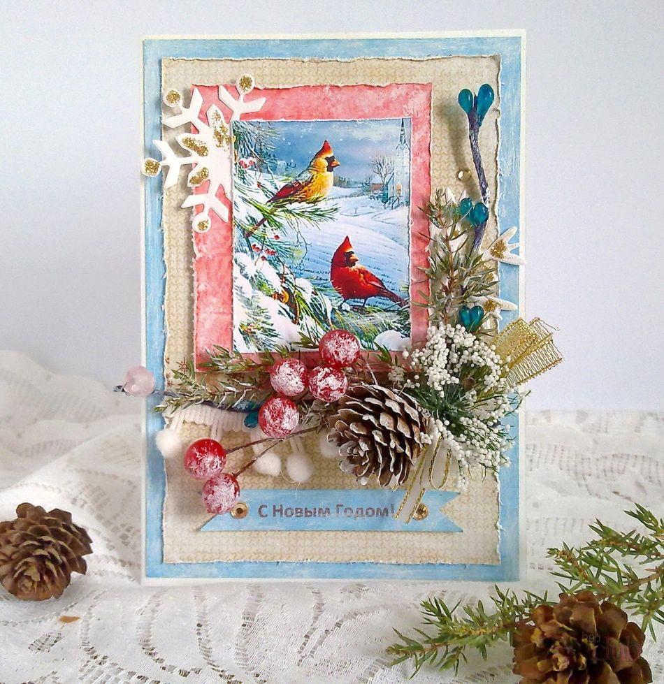Скрапбукинг рождественская открытка, красивые открытки