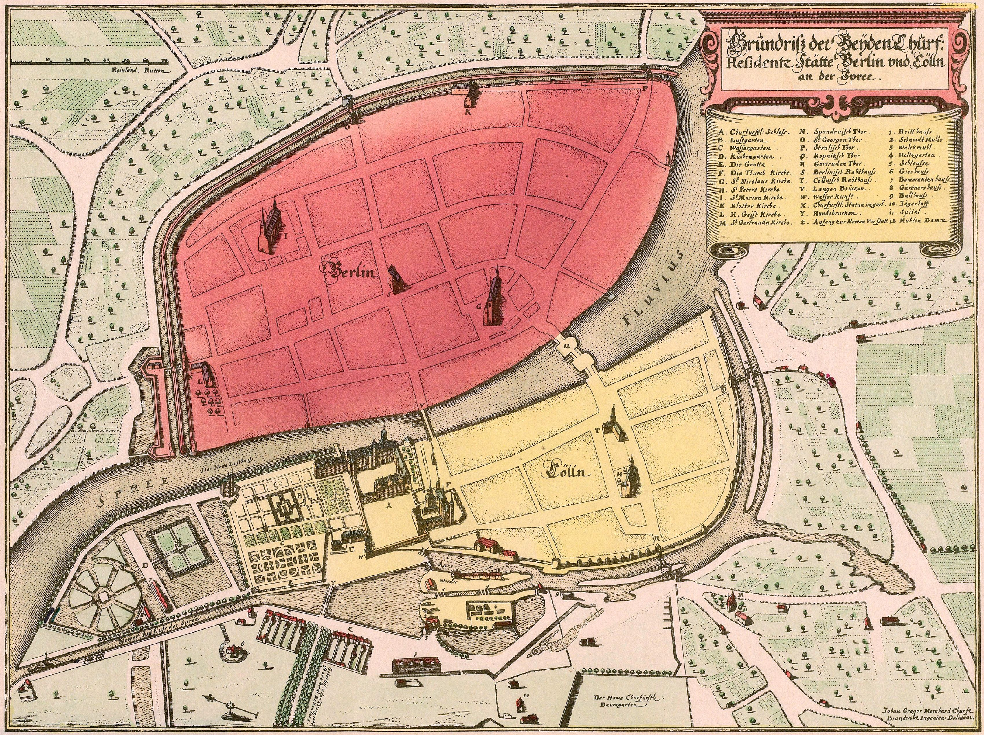 Memhardt Grundriss Der Beyden Churf Residentz Statte Berlin Und Colln 1652 1888 Jpg 3400 2539 Berlin Berlin Karte Stadtplan Berlin