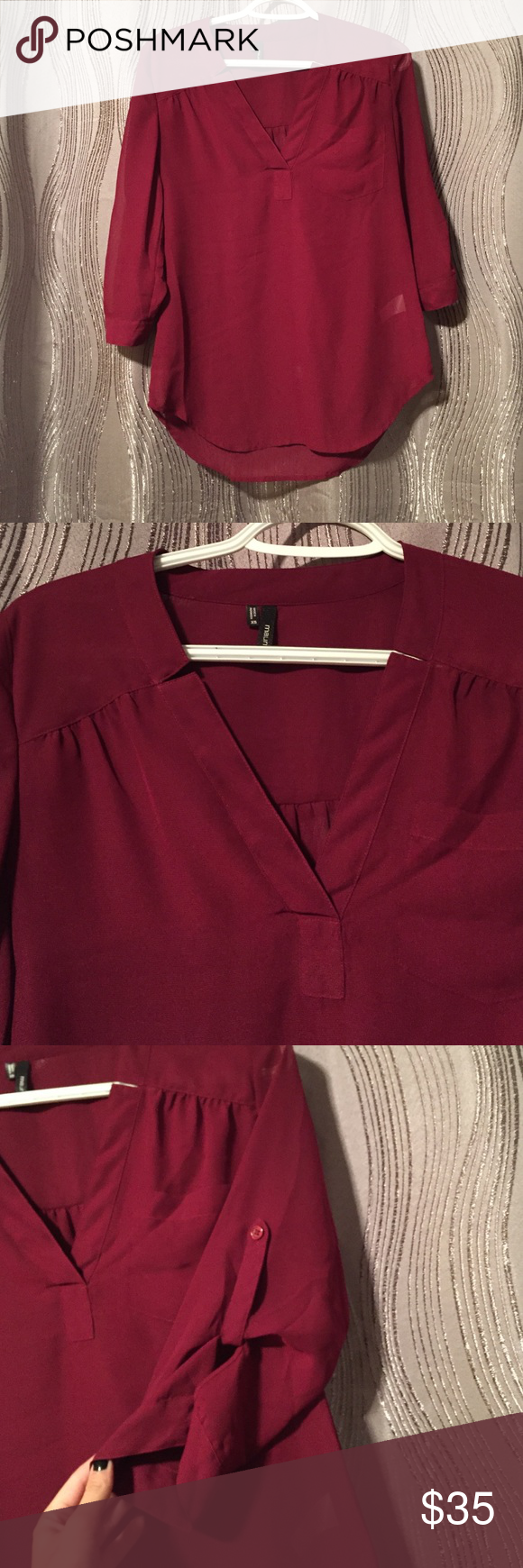 Maroon Dress Shirt/Blouse 100% polyester, worn once, in great condition! Maurices Tops Blouses