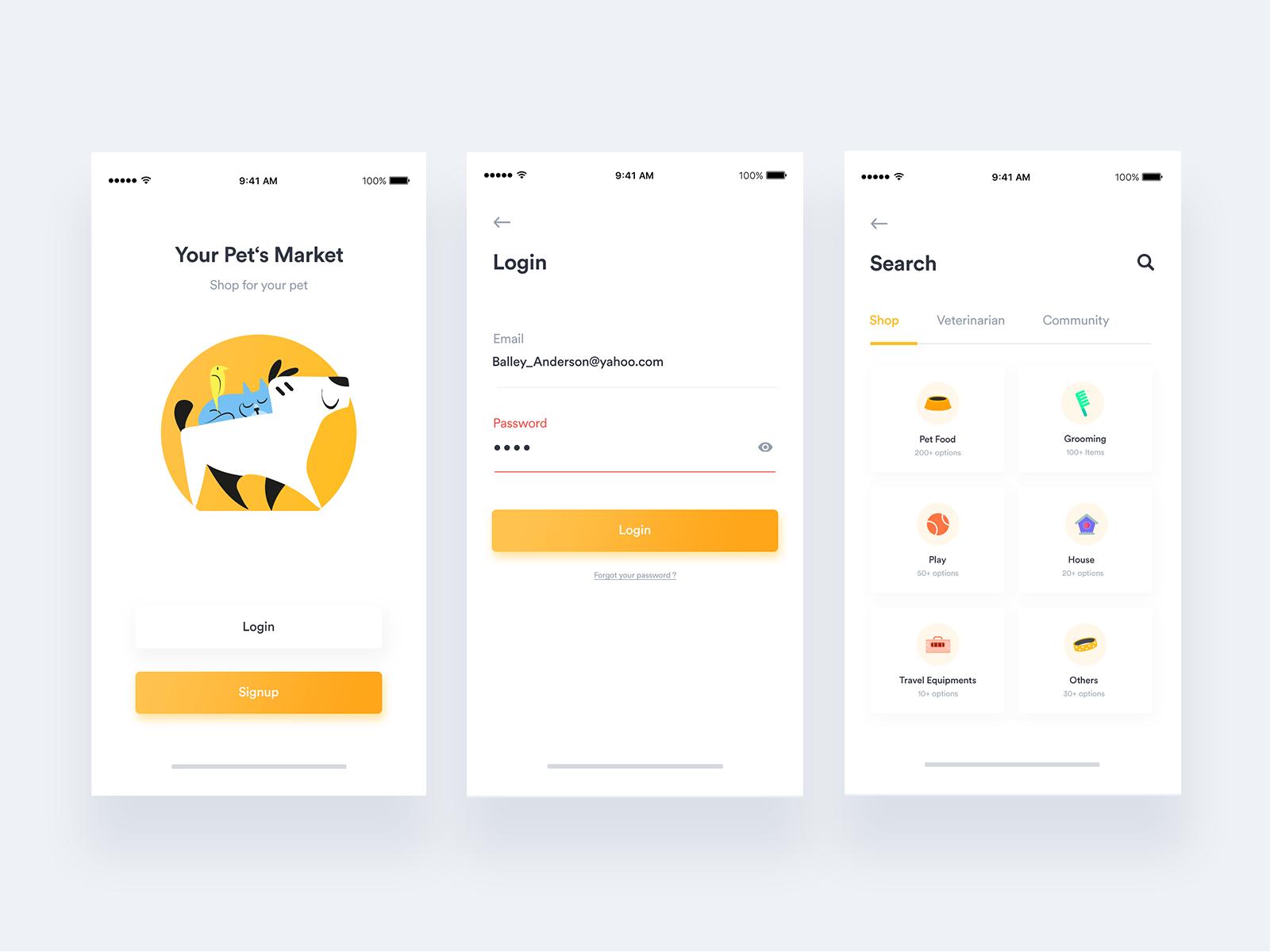 Petshop App + Free UI kit + 1 Dribbble Invite | UI/UX MOBILE