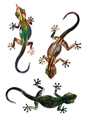 Garden Gecko Triplets Metal Wall Art | lizard | Pinterest | Geckos ...
