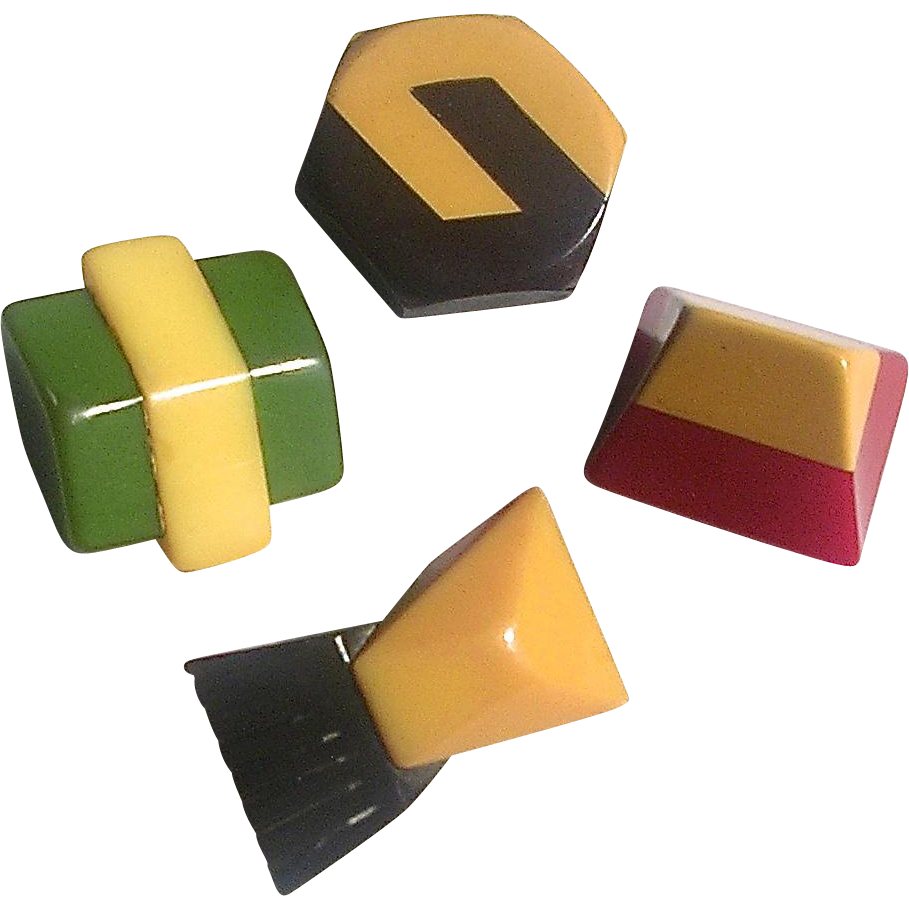 Set Of Four Laminated Bakelite Buttons Vintage Buttons Antique Buttons Sewing Items