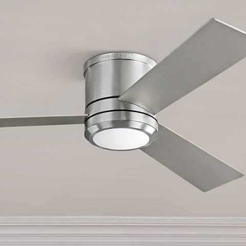 56 Clarity Max Brushed Steel Led Damp Hugger Ceiling Fan 9f403 Lamps Plus