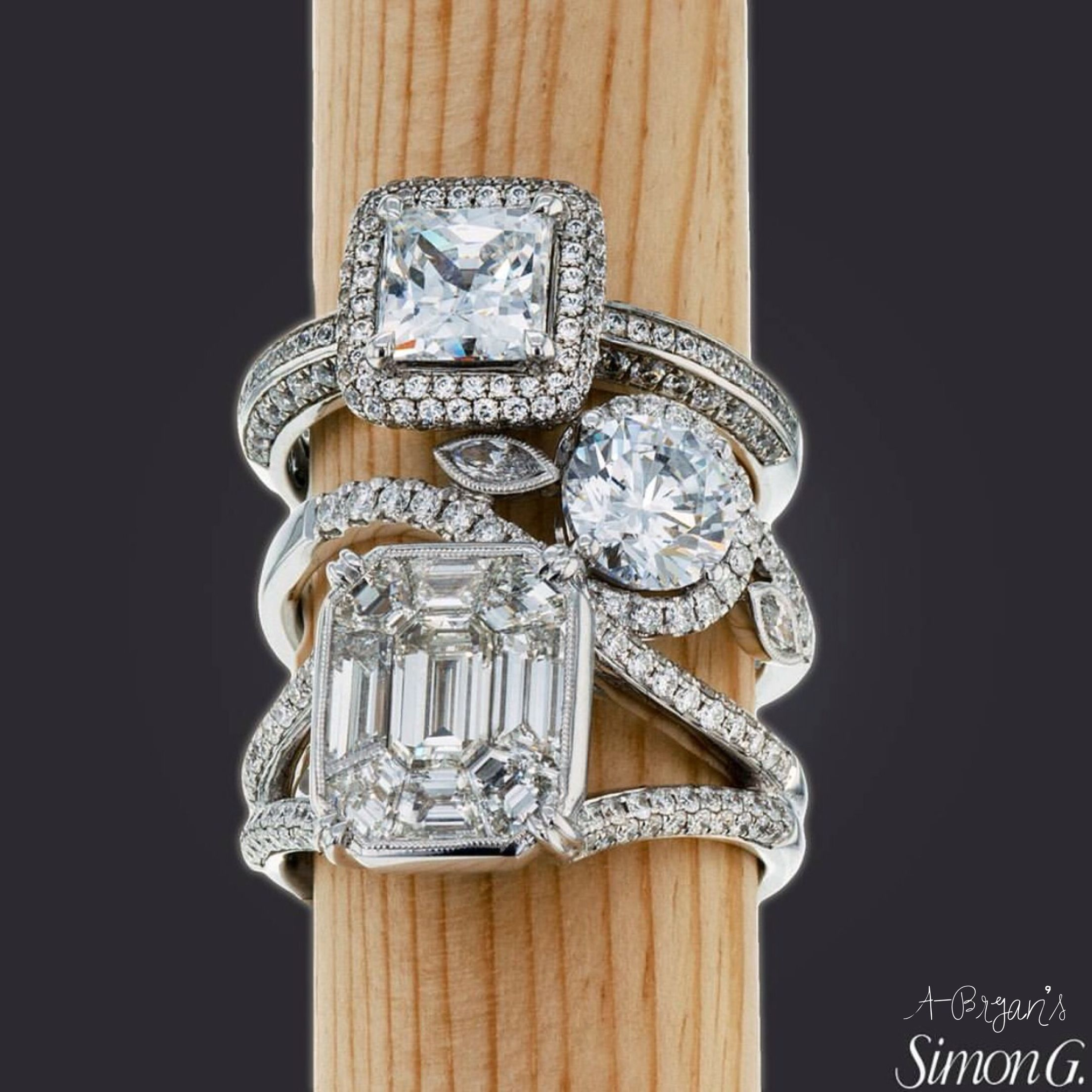 f right tashne diamond rings simon g engagement mosaic by ring jewels product ladies hand
