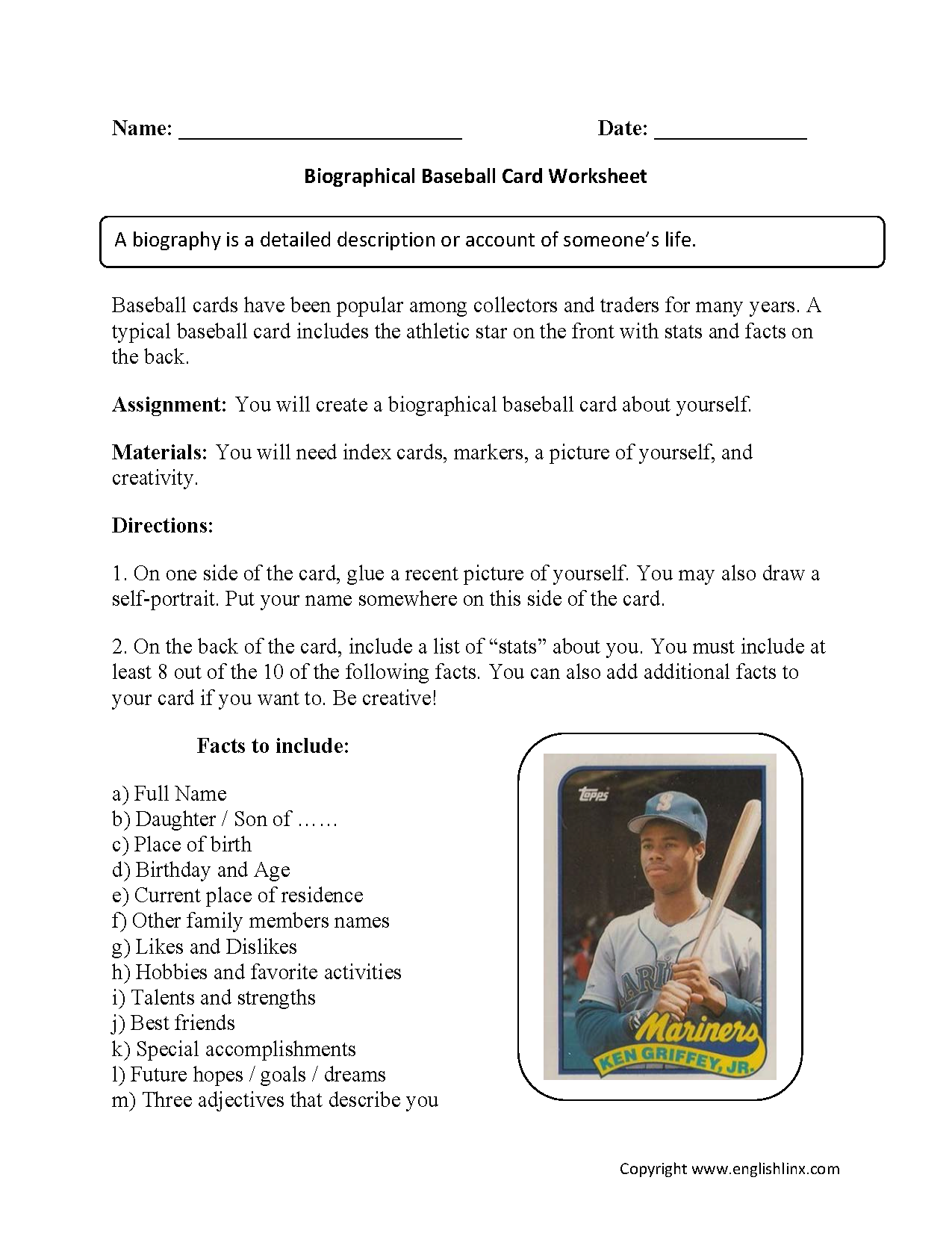 Biography Baseball Card Back To School Worksheets