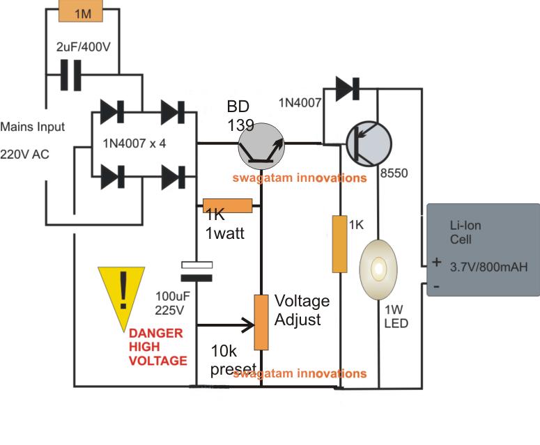 transformerless emergencylamp circuit pinteres Led Emergency Flasher Wiring Schematic transformerless emergencylamp circuit more LED Flasher Wiring- Diagram