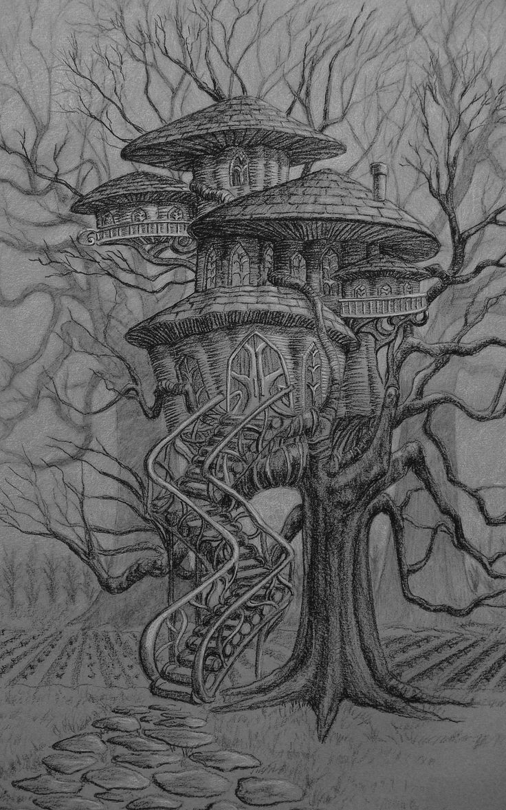 помогаем сказочное дерево рисунки карандашом самую красивую