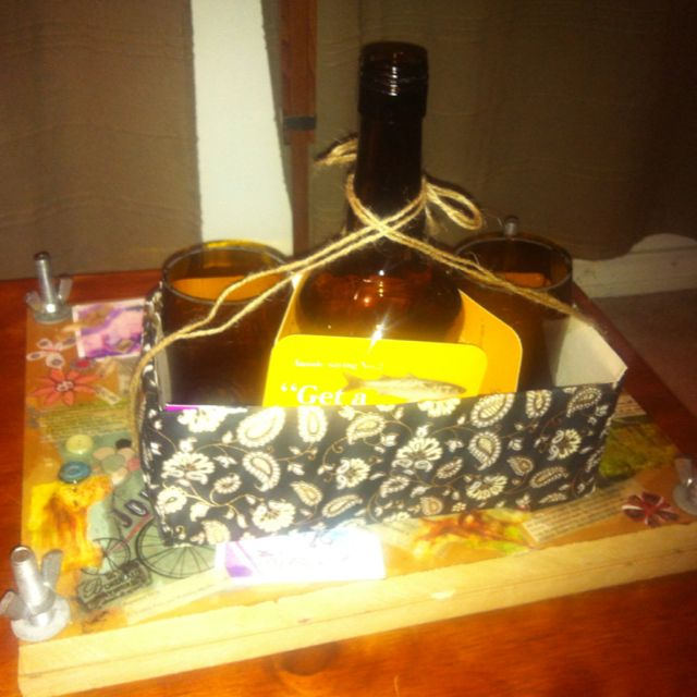 My friend just made this two wine glasses n a lantern out of old crown beer bottles n Marsala bottle