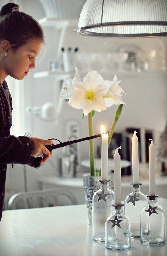 calendrier de l 39 avent bouteilles recycl es et bougies xmas. Black Bedroom Furniture Sets. Home Design Ideas