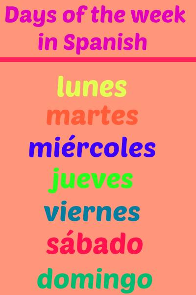 Días de la semana (con audio y su transcripción en la página) - http://www.soeasyspanish.com/2014/02/days-of-week-in-spanish-with-audio.html
