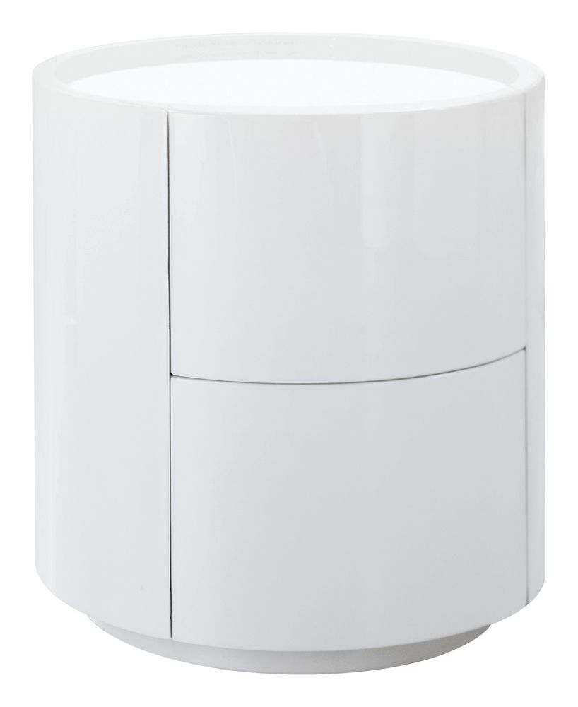 Dwell Sphere Gloss Bedside Table White White Bedside Table