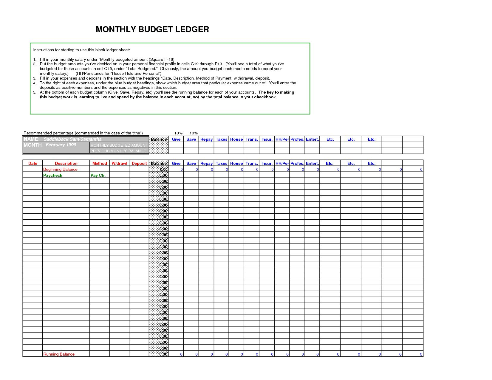 General Ledger Spreadsheet Template Excel Accounting